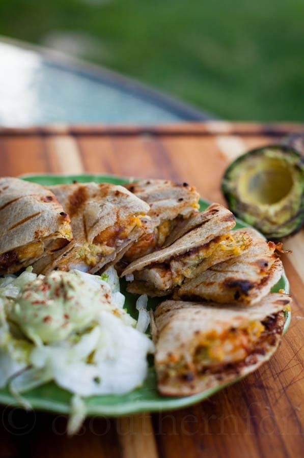 Spicy Grilled Shrimp Quesadillas with Smoky Grilled Avocado Cream Sauce