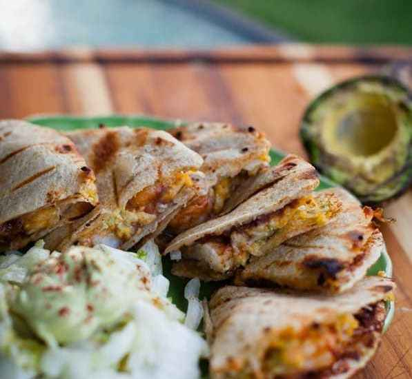 Spicy Grilled Shrimp Quesadillas with Smoky Avocado Cream Sauce