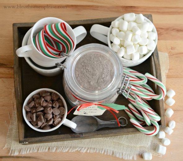 homemade hot cocoa christmas gift set
