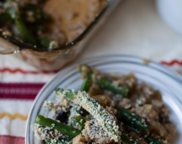Crunchy Panko Crusted Green Bean Casserole {and a giveaway}