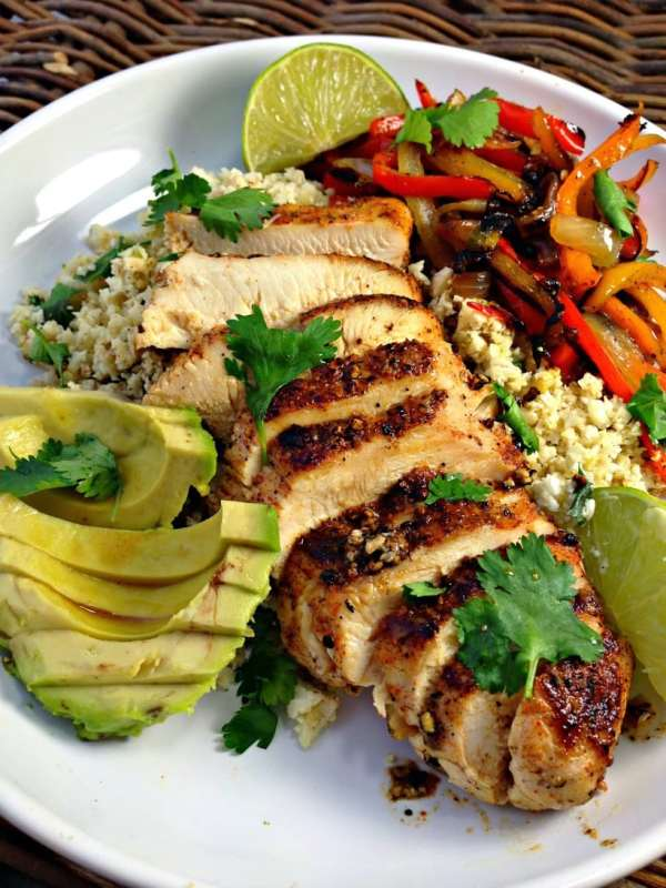 Chicken Fajita Bowls with Cilantro Lime Cauliflower Rice   Everyday to Gourmet