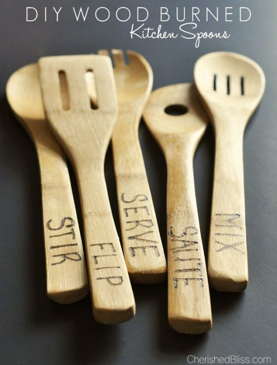 DIY Wood Burned Wooden Spoons | Cherished Bliss