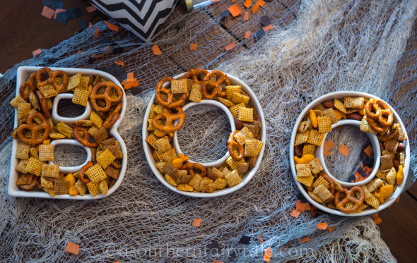 BOO spicy chex mix for halloween parties