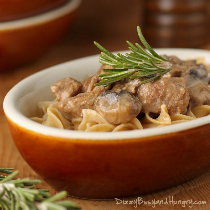 Crockpot Beef Stroganoff from Dizzy, Busy, and Hungry