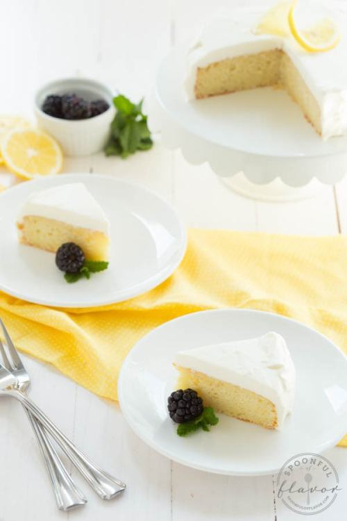 Lemon Cake with White Chocolate Mousse Frosting from Spoonful of Flavor
