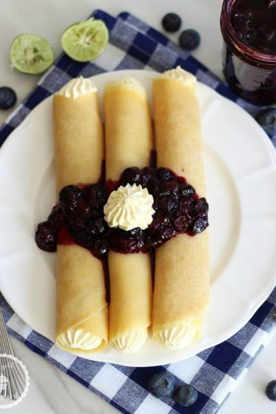 Crepes with Key Lime Custard and Blueberry Sauce from The Gold Lining Girl