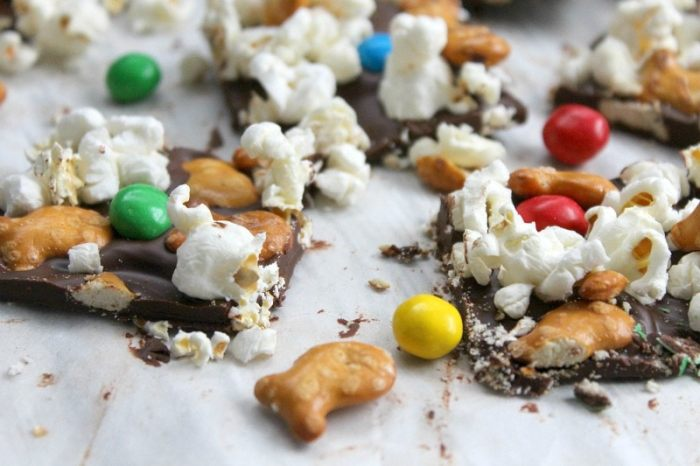 chocolate bark with popcorn, candy, and pretzels