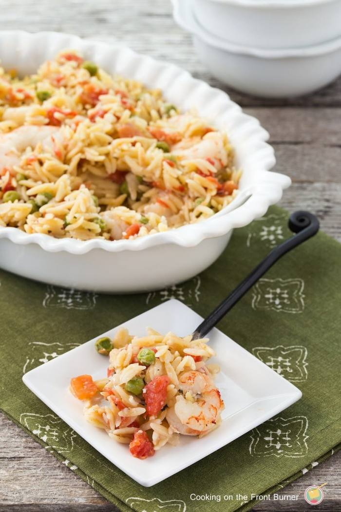 One Dish Lemon Orzo Shrimp Bake from Cooking on The Front Burners