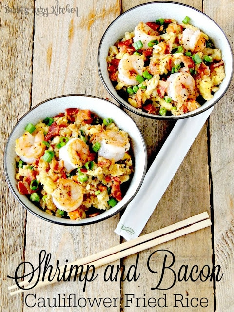 Shrimp and Bacon Cauliflower Fried Rice from Bobbi's Kozy Kitchen