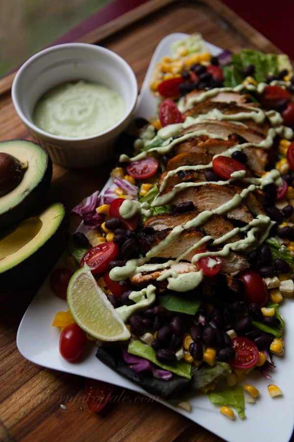 spicy southwestern chicken salad with avocado ranch dressing