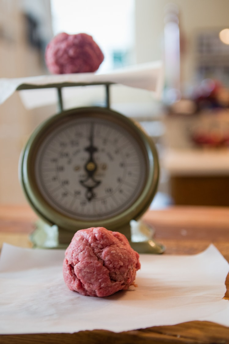 hamburger meat on the kitchen scale