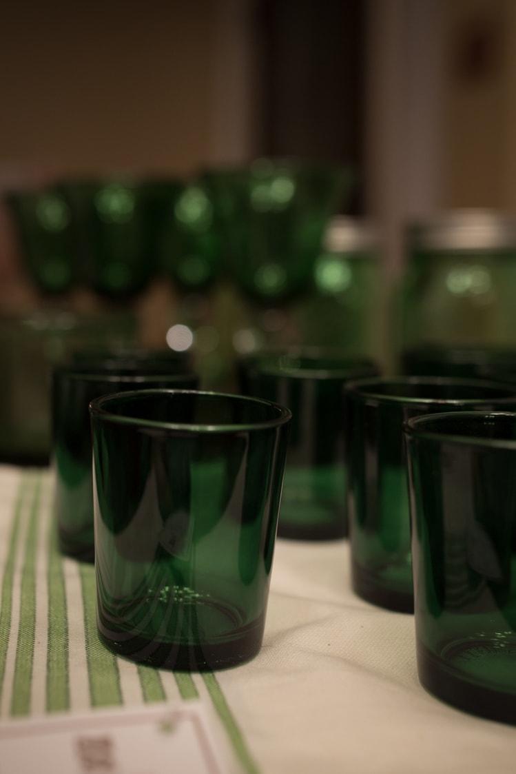 green votive candle holders for dinner en green