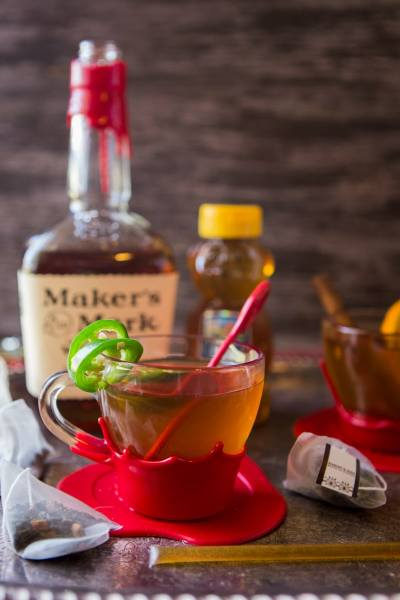 texas jalapeno hot-tea toddy with maker's mark