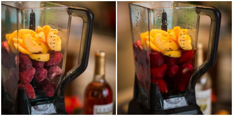Rosè wine and fruit frozen slushies