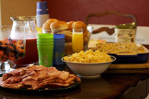 glazed ham table of food