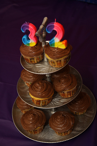 Chocolate Frosted cupcakes for a birthday