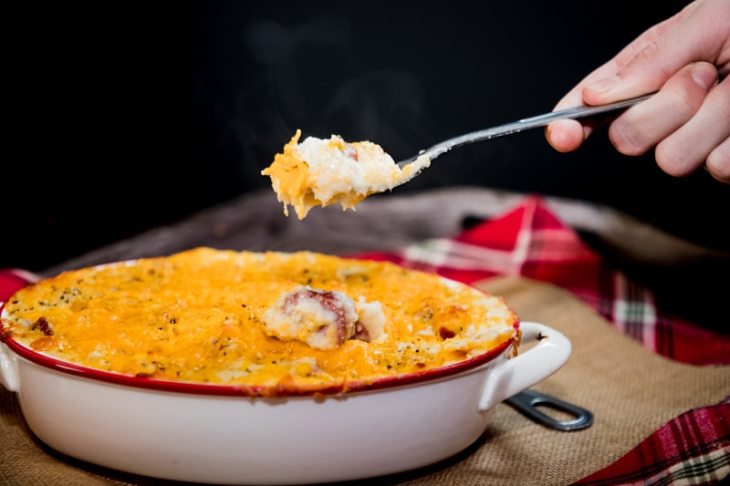 steaming hot twice baked Kiolbassa stuffed cheesy cauliflower mash