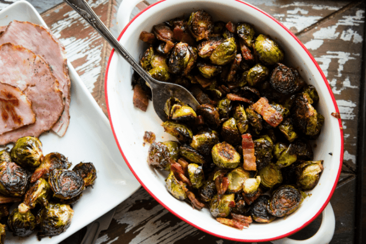 Sweet and Spicy One Pan Bacon and Brussels Sprouts