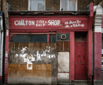 The old fish and chips shop in Chalton Street, near Churchway.