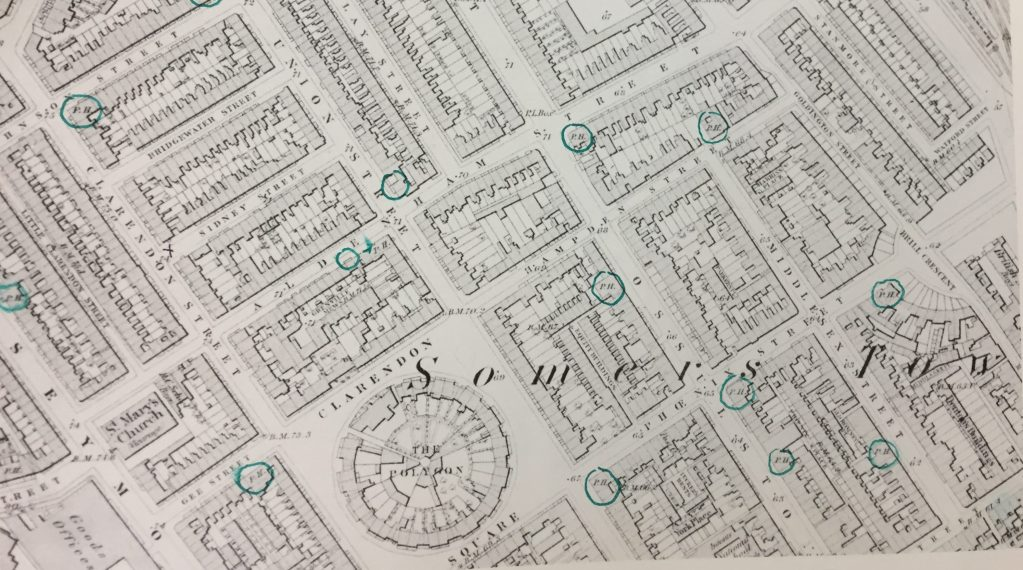 Somers Town old map showing old pubs that have gone.