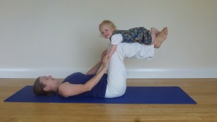 4. Flying fun! This can also be done without your baby. Bring knees directly over the hips so they make a right angle with the floor. You should feel your lower abdominal muscles engage. Hold one breath and relax! Build up gradually.