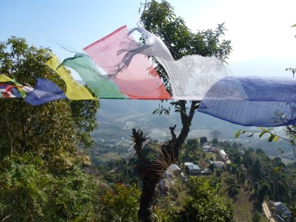 Tibetan prayer flags are a common sight in Nepal where many refugees from Tibet have made their home.
