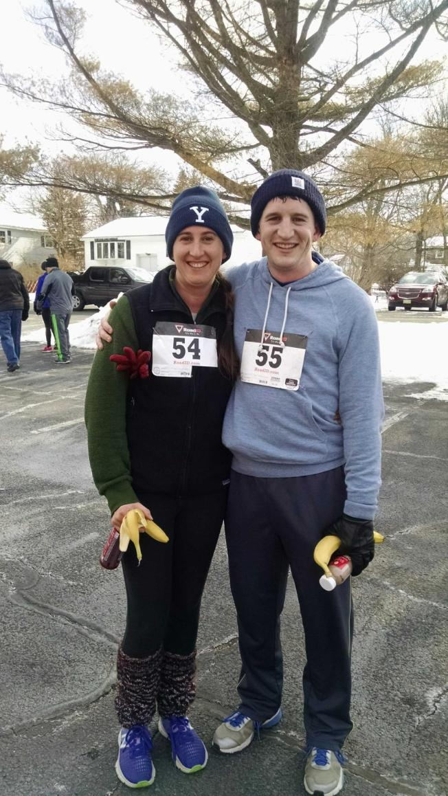 My hubby John and I after running the Cupid's Chase 5K on February 13th. It was very cold out and our run was around a lake, brr!