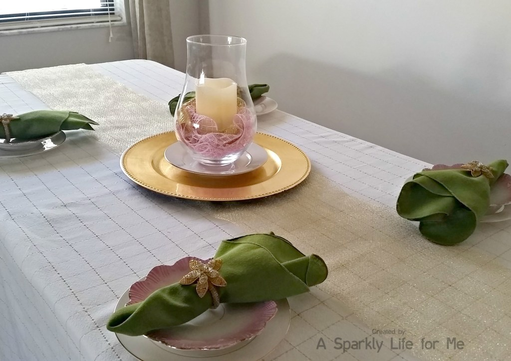 Simple Gold and White Spring Table Decor with Green and Pink Accents by A Sparkly Life for Me