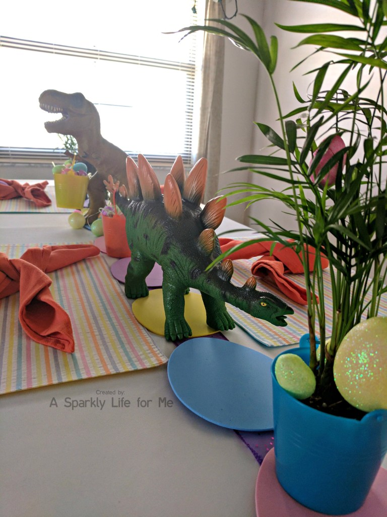 TREX and Stegosaurus Dino Easter Egg Hunt Table Decor – by A Sparkly Life for Me