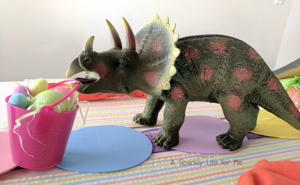 Triceratops Dino Easter Egg Hunt Table Decor – by A Sparkly Life for Me