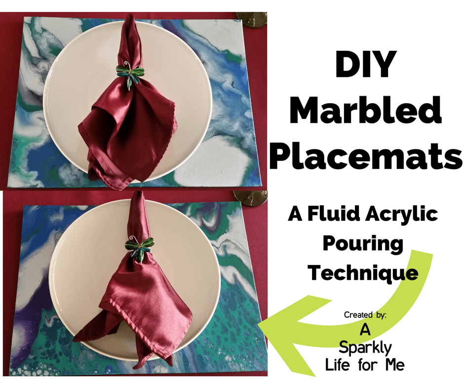 DIY Marbled Placemats a Fluid Acrylic Pouring Technique