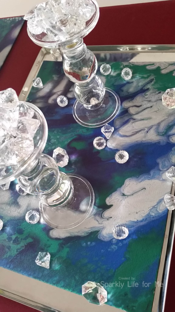 DIY Marbled Placemats via Fluid Acrylic Pouring Technique Centerpiece
