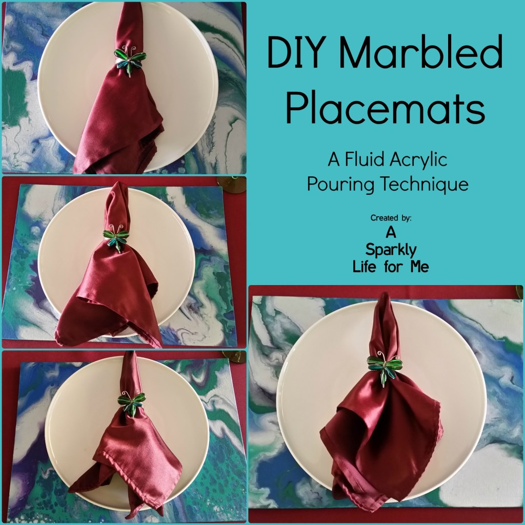 DIY Marbled Placemats with Jewel Napkins and Plates by Fluid Acrylic Pouring Technique