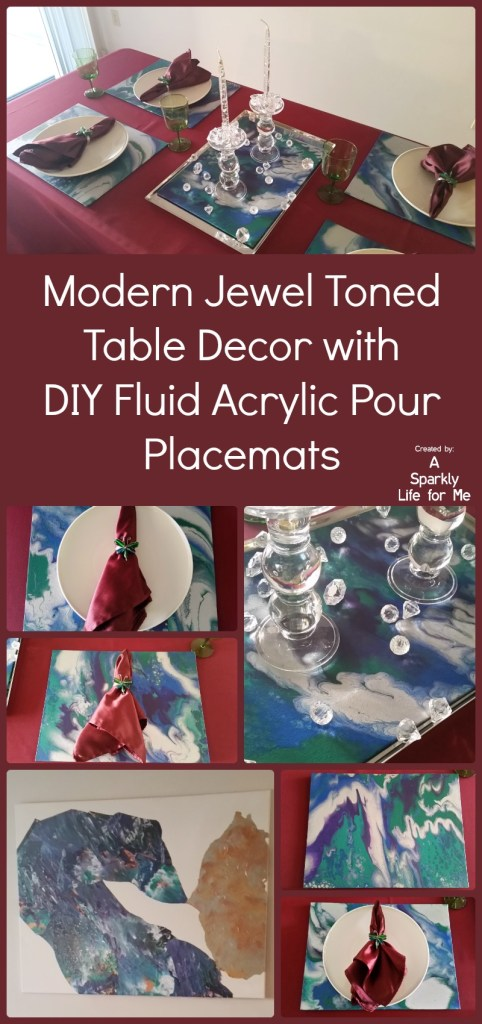 Modern Jewel Toned Table Decor with DIY Fluid Acrylic Pour Placemats by A Sparkly Life for Me