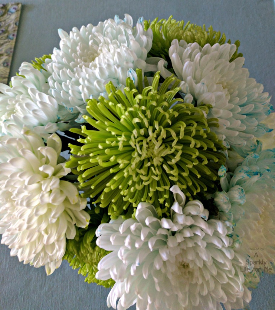 Blue White and Green Oversized Mums Flower Arrangement for Peacock Table Decor