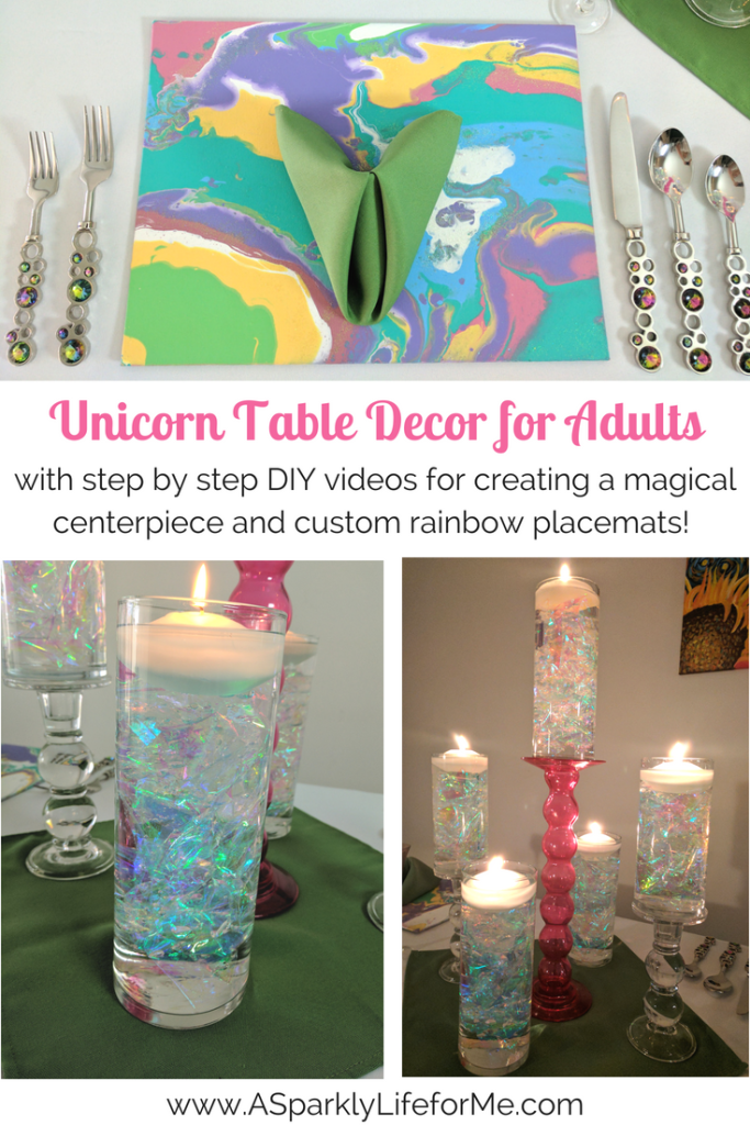 DIY Unicorn Table Decor for Adults - with DIY video tutorials for creating a magical iridescent centerpiece and rainbow placemats using marble fluid acrylics. #unicorn #unicornparty #rainbow #partyideas #partydecor #partytheme #party #adultparty #DIY #video tutorial #fluidacrylic