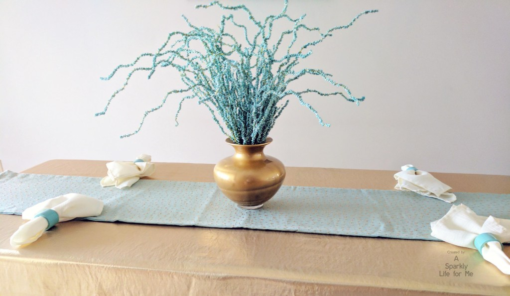Funky Blue and Gold Tablescape with DIY Painted Vase in Gold