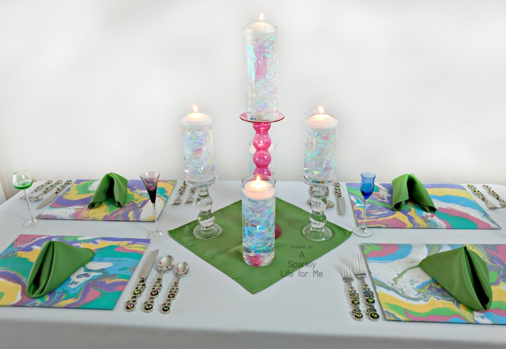 Unicorn Dream Table Decor PLUS DIY Centerpiece and Rainbow Marble Place Mats by A Sparkly Life for Me