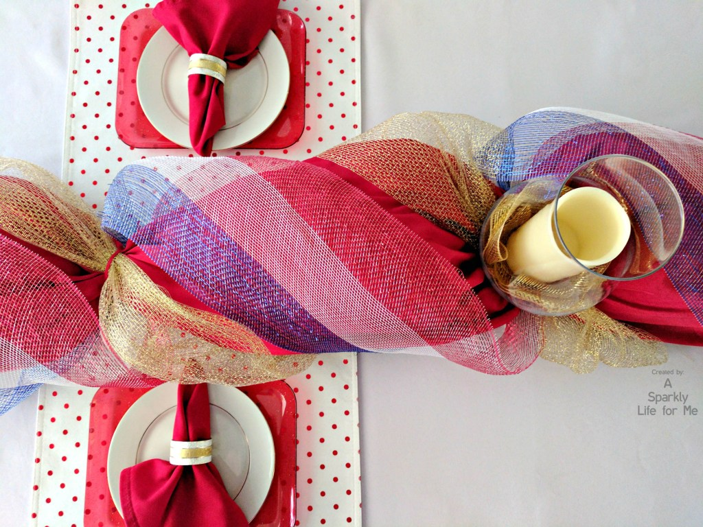 DIY decor mesh table runner swag garland in red white blue and gold for fancy patriotic table decor