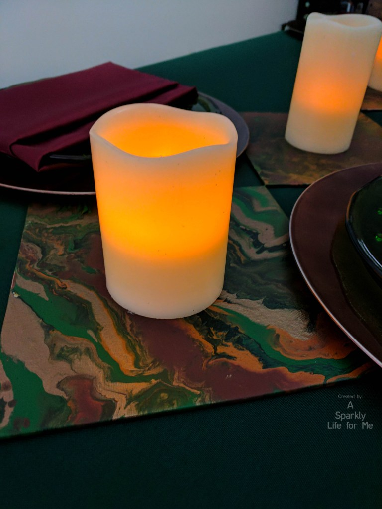 LED candle runner with DIY fluid acrylic pouring table decor