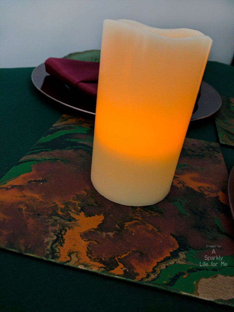 diy fluid acrylic pouring marble table decor with LED candle - used as a table runner or centerpiece