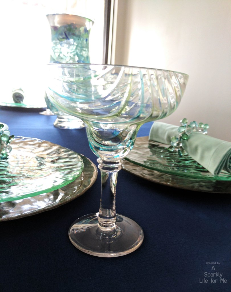 Margarita Glass with Blue Green Swirls on Sea Glass Hues Table Decor