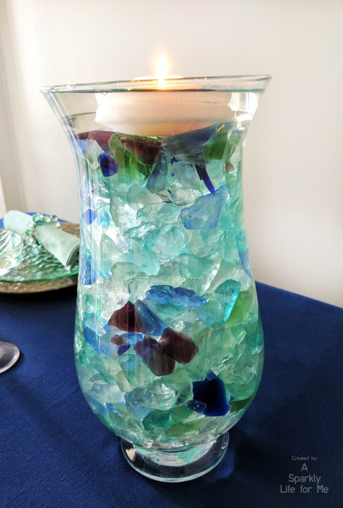 Sea Glass Hues DIY Centerpiece with Floating Candle