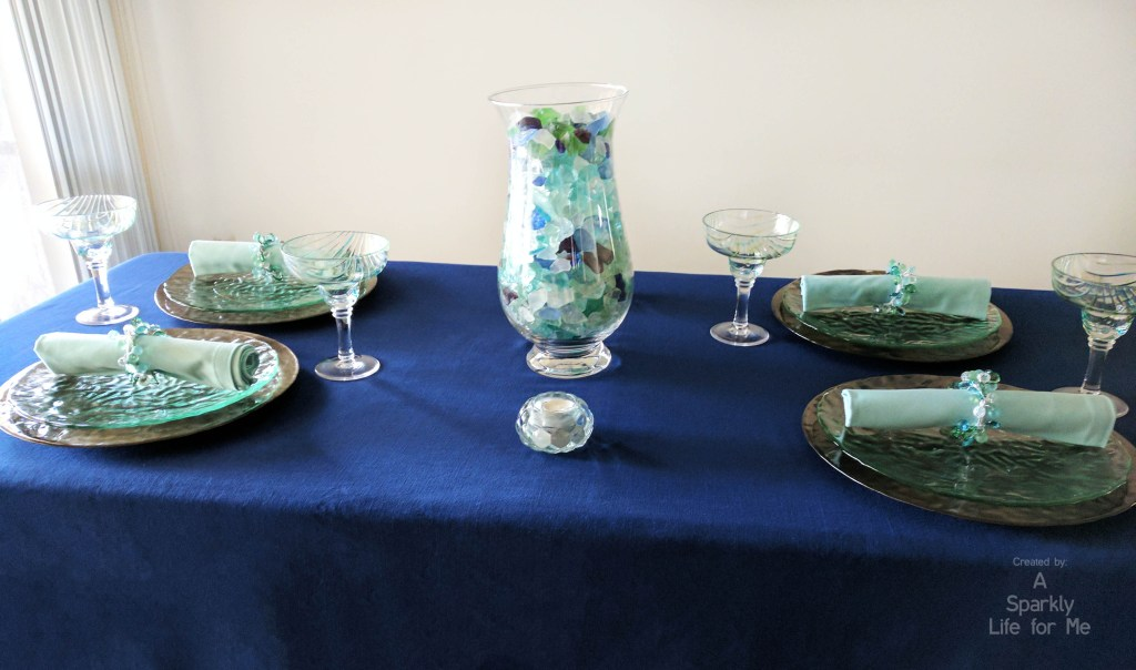 Sea Glass Hues Summer Tablescape PRE Water in Centerpiece