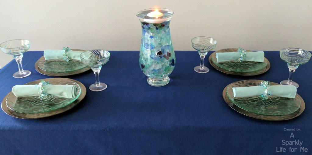 Sea Glass Hues Summer Tablescape with Sea Glass Centerpiece Tutorial