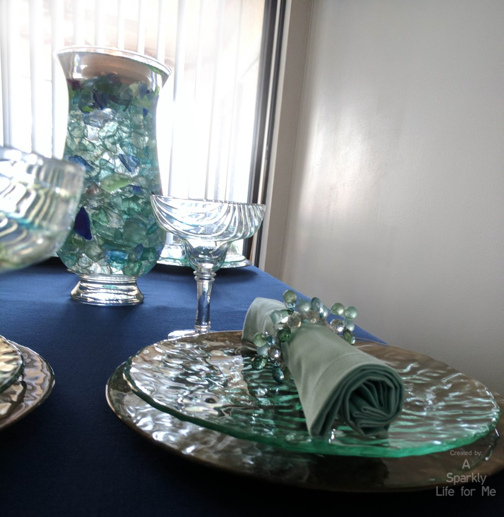 Thrift Store Based Summer Sea Glass Hues Tablescape