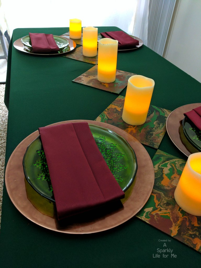 modern midsummer marble tablescape with DIY fluid acrylic paint pouring accents and LED candles runner centerpiece