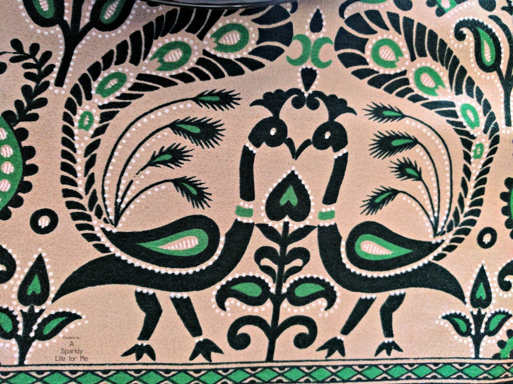 Peacock print sari in black green and peach - by A Sparkly Life for Me