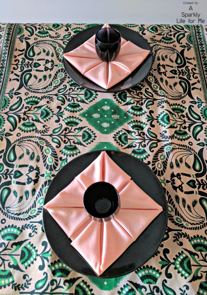 Peacock print sari in black green and peach tablescape - by A Sparkly Life for Me