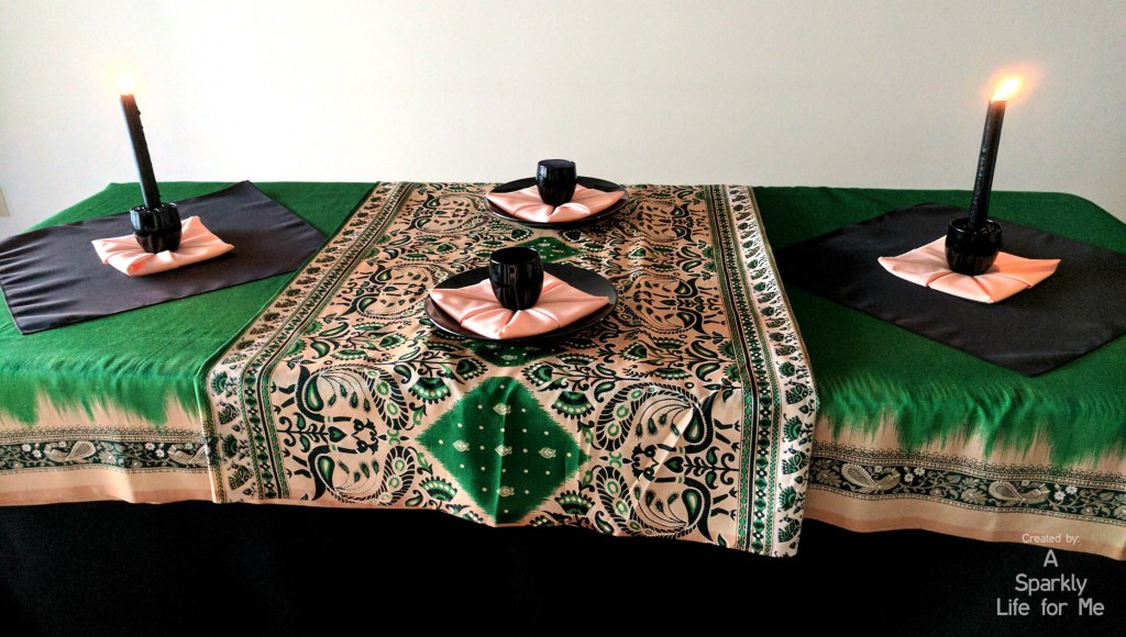 Table for 2 - Black green and peach peacock sari tablescape made from thrift store finds - by A Sparkly Life for Me